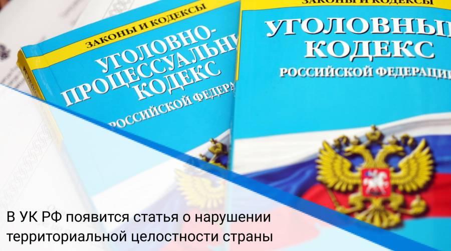 В УК РФ появится статья о нарушении территориальной целостности страны