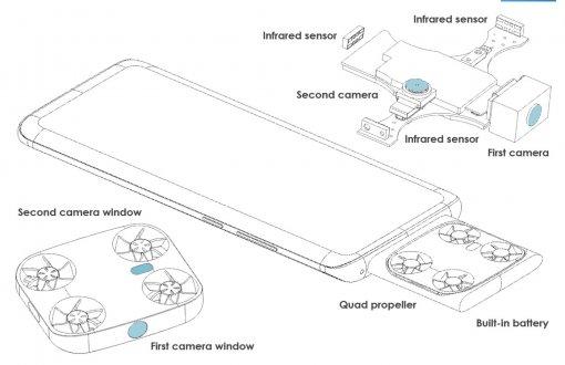 Vivo запатентовала модульный смартфон с камерой-дроном