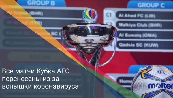 Все матчи Кубка АFC перенесены из-за вспышки коронавируса