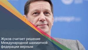 Жуков считает решение Международной шахматной федерации верным