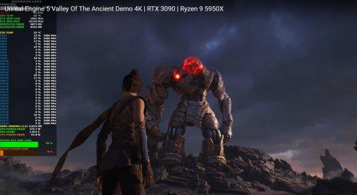 Появилось видео с тестами видеокарты RTX 3090 и Ryzen 9 5950X в игре на движке Unreal Engine 5