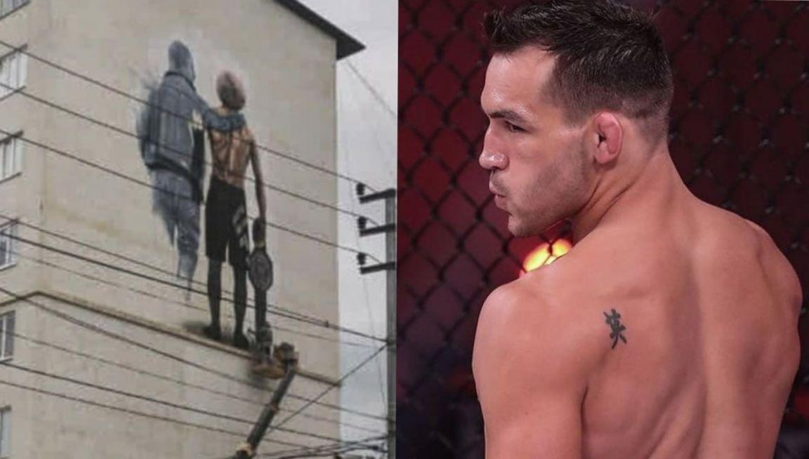 Майкл Чендлер оценил изображение Хабиба и его отца на девятиэтажке в Дербенте