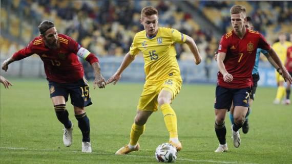 Вчера: Сборная Украины победила команду Испании в матче Лиги наций
